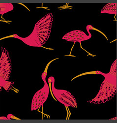 Seamless pattern with ibis birds vector