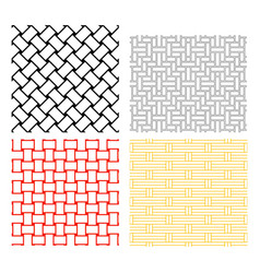 seamless weave rattan pattern in silhouette vector image