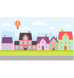 set colorful houses in a town vector image