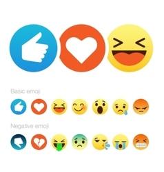 set cute smiley emoticons flat design vector image
