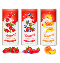 set of banners with berries and fruit falling vector image