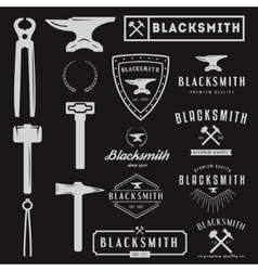 Set of logo for blacksmith typographic logotype vector