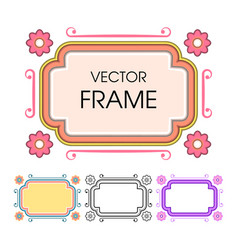 set of vintage colored frames in a lineart style vector image