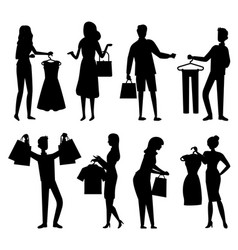 Shopper with purchase people shopping vector