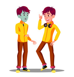 Sick teen guy with green face before and after vector