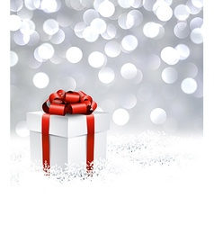 Silver christmas background with gift vector image
