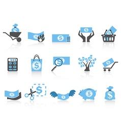 Simple money iconblue series vector
