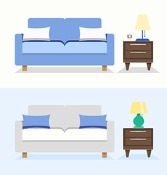 Sofa interior design vector