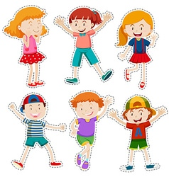 Sticker set of happy boys and girls vector image