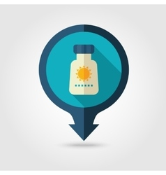 Sunscreen pin map flat icon Summer Vacation vector