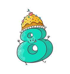 Sweet cake number character eight vector