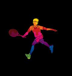Tennis player running man play movement vector