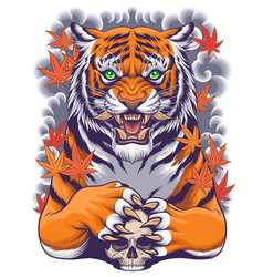 tiger and skull with japanese style art vector image