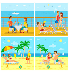 tourism and sightseeing summer vacation by sea vector image
