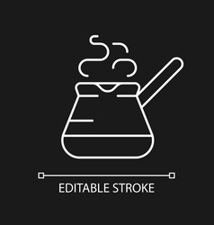 Turkish coffee pot white linear icon for dark vector