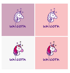 unicorn logo isolated on white background vector image