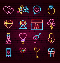 Valentine day neon icons vector