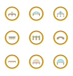 Various bridges icons set cartoon style vector
