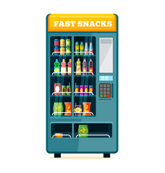 vending food drink machine chips soda snack vector image