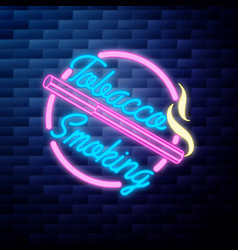 vintage smoking emblem glowing neon sign vector image