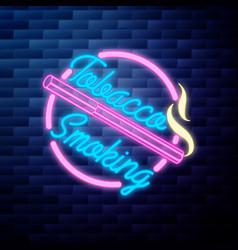 vintage smoking emblem glowing neon sign vector image