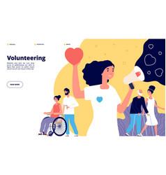 Volunteering page charity community organization vector