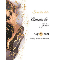 wedding invitation card design with gold dust vector image