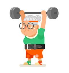 Weightlifting fitness healthy activities granny vector