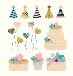 white background with set elements to party happy vector image