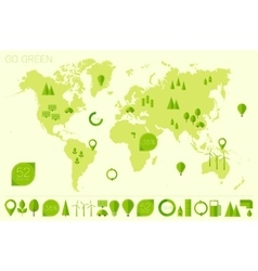 World high detailed map ecology eco icons vector image
