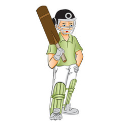 Young cricket batsman with a bat vector