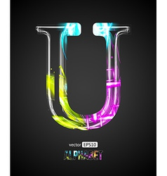 Design Light Effect Alphabet Letter U vector image