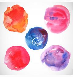Set of watercolor blobs circle design elements vector