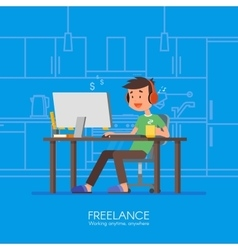 Male freelancer working remotely from his room vector image vector image