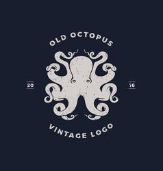 octopus silhouette logo invert vector image