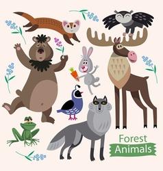 Set of cartoon forest animals vector