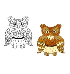 Cartoon outline brown owl bird vector image