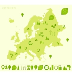 Europe high detailed map ecology green flat icons vector image