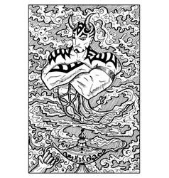 ginn and magic lamp engraved fantasy vector image vector image