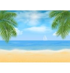 sea beach and palm tree vector image