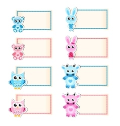 Set animal blank template for text Cow owl vector image vector image