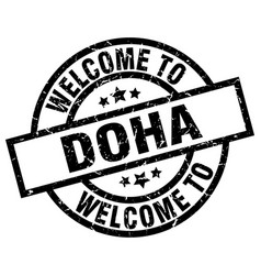 welcome to doha black stamp vector image