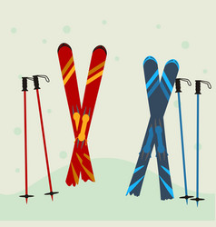 red and blue ski equipment in the snow winter vector image vector image