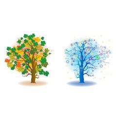 two seasons trees vector image