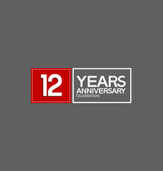 12 years anniversary in square with white and red vector