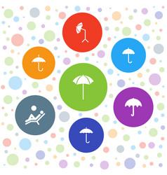 7 umbrella icons vector image