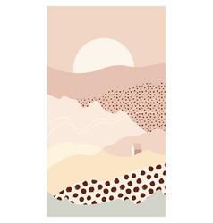 abstract mountain landscape a sun house vector image
