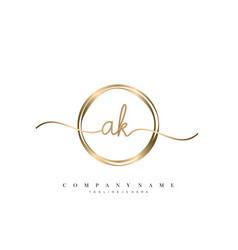 Ak initial handwriting logo vector