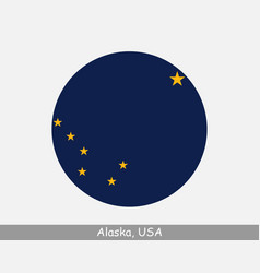 Alaska round circle flag vector