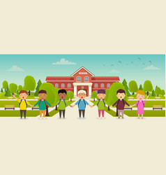 Back to school cute school kids stand in front vector